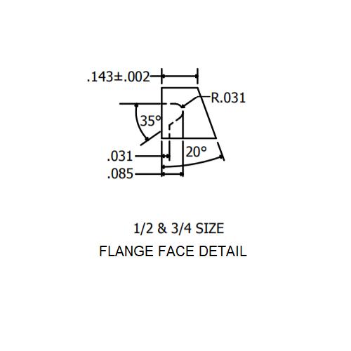 """3/4"""" Flange Face Detail"""