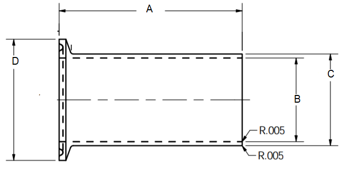 Light-Duty Tank Ferrule Dimensions
