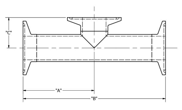 Tri-Clamp Short Outlet Tee Dimensions