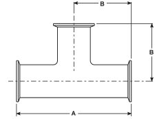 Tri Clover Sanitary Clamp Tee Dimensions