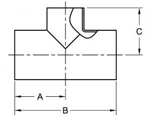 Butt-Weld Reducing Tee Short Dimensions