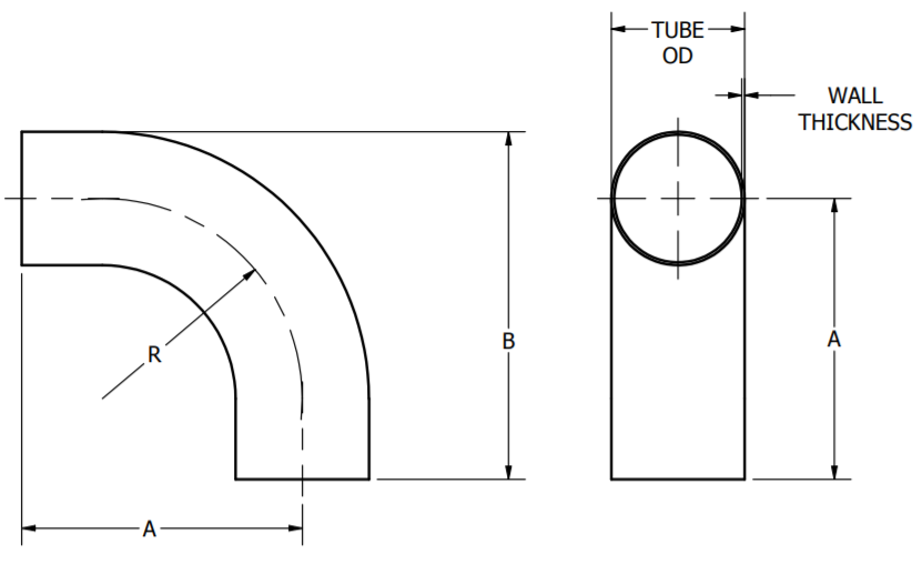 Butt-Weld Long Elbow Dimensions