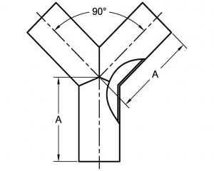 True Wye Butt Weld Dimensions