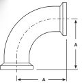 Female I-Line Sanitary Elbow Dimensions