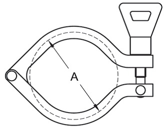 Wing Nut I-Line Clamp Dimensions