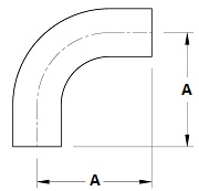 BPE 90 Butt Weld Elbow with Tangent Dimensions