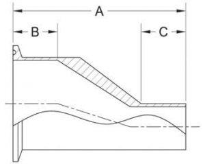 Tri-Clamp x Weld Eccentric Reducer BPE