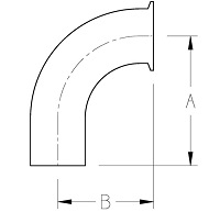 Clamp x Long Weld BPE Elbow Dimensions