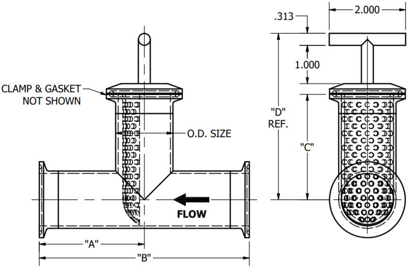 Tee Line Strainer Dimensions