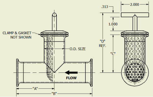 Tee-Line Strainer Dimensions