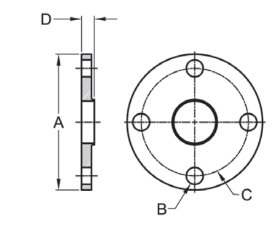 38W Weld Neck Flange Dimensions