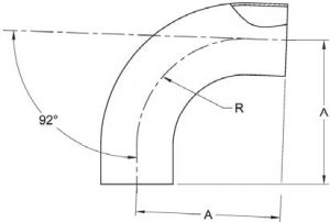 92-Degree Weld Elbow Dimensions